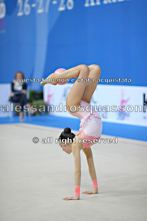 Hayakawa Sakura during qualifying at ball in Pesaro World Cup 26 April 2013. Sakura is a Japan rhythmic gymnastics athlete born March 17, 1997 in Osaka, Japan. She appeared in Senior competitions in the 2013 season.