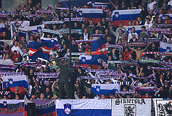 Slovenian fans at the fourth round qualification game of 2010 FIFA WORLD CUP SOUTH AFRICA in Group 3 between Slovenia and Northern Ireland at Stadion Ljudski vrt, on October 11, 2008, in Maribor, Slovenia.  (Photo by Vid Ponikvar / Sportal Images)
