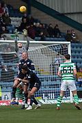 17th March 2019, Dens Park, Dundee, Scotland; Ladbrokes Premiership football, Dundee versus Celtic; Scott Bain of Celtic rises to clutch a cross