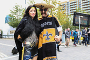 New Orleans Saints fans during the Miami Dolphins vs New Orleans Saints International series match at Wembley Stadium, London, England on 1 October 2017. Photo by Jason Brown.