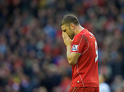 25.10.2014, Anfield, Liverpool, ENG, Premier League, FC Liverpool vs Hull City, 9. Runde, im Bild Liverpool's Rickie Lambert looks dejected as his side draw 0-0 with Hull City // 15054000 during the English Premier League 9th round match between Liverpool FC and Hull City at the Anfield in Liverpool, Great Britain on 2014/10/25. EXPA Pictures © 2014, PhotoCredit: EXPA/ Propagandaphoto/ David Rawcliffe<br /> <br /> *****ATTENTION - OUT of ENG, GBR*****