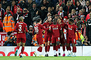Liverpool players celebrate Liverpool forward Sadio Mane (10) goal 1-0  during the Champions League match between Liverpool and FC Red Bull at Anfield, Liverpool, England on 2 October 2019.
