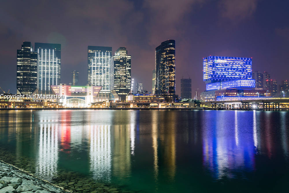 Night view of ADGM, Abu Dhabi Global Market modern business and commercial district on Al Maryah Island, Abu Dhabi, UAE