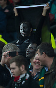 Twickenham. Great Britain,   All Black, supporter, during, Semi Final 1. South Africa vs New Zealand  2015 Rugby World Cup,  Venue, Twickenham Stadium, Surrey England.   Saturday  24/10/2015.   [Mandatory Credit; Peter Spurrier/Intersport-images]