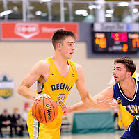 4th year guard, Samuel Hillis (2) of the Regina Cougars in action during the Regina Cougars vs Lethbridge game on November 2 at University of Regina. Credit Matte Black Photos/©Arthur Images 2018