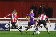 Lloyd James, Billy Waters and Craig Woodman during the EFL Sky Bet League 2 match between Exeter City and Cheltenham Town at St James' Park, Exeter, England on 14 March 2017. Photo by Antony Thompson.