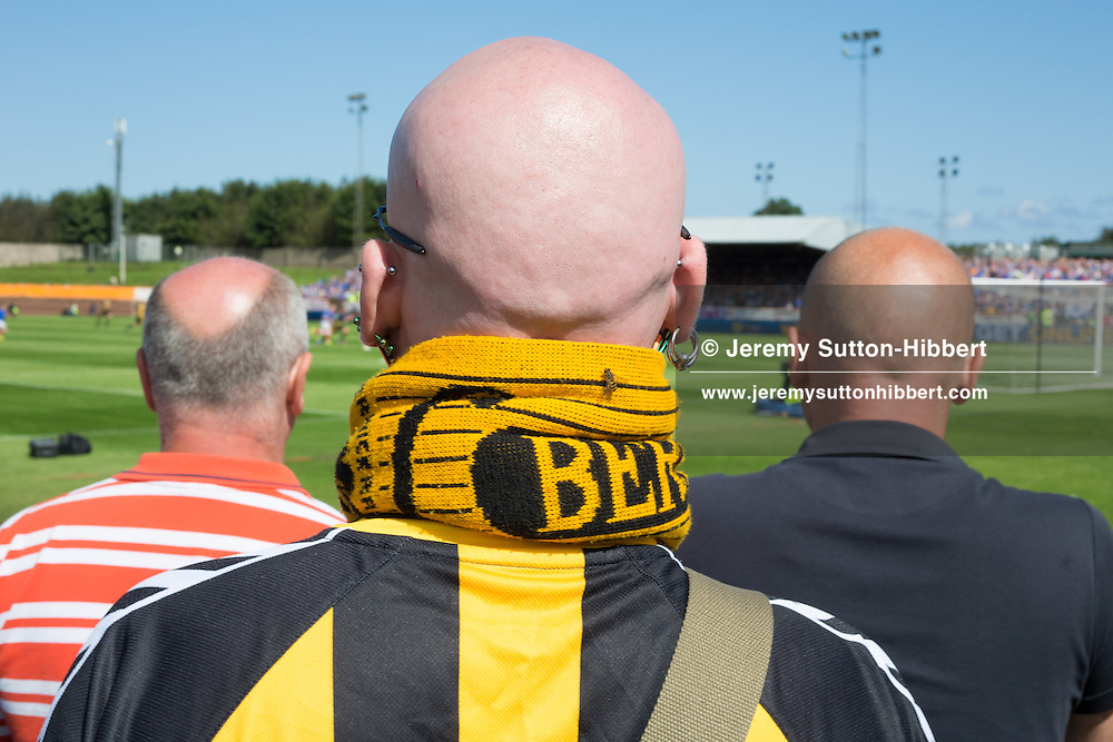 Scenes of Berwick Rangers supporters during the first half of the 3rd Division football game of Berwick Rangers versus Glasgow Rangers Football Club, at Shielfield Park, Berwick-Upon-Tweed, England, on Sunday 26th August 2012. .The final score was 1-1.