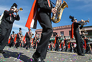"Members of march band perform during the 114th annual Chinese New Year ""Golden Dragon Parade"" in the streets of Chinatown in Los Angeles, Saturday Feburary 16, 2013. (Photo by Ringo Chiu/PHOTOFORMULA.com)."