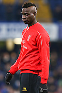 Mario Balotelli of Liverpool before the Capital One Cup Semi Final 2nd Leg match between Chelsea and Liverpool at Stamford Bridge, London, England on 27 January 2015. Photo by David Horn.