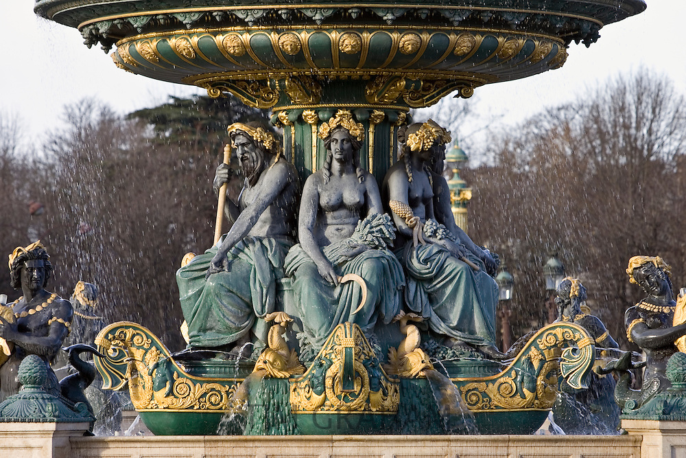 Bronze fountain in Place de la Concorde, Paris, France