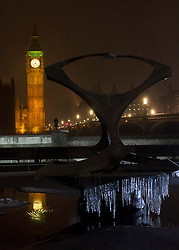 © licensed to London News Pictures. London, UK 04/02/2012. The reflection of the clock tower of Big Ben is seen in the pond in front of St Thomas' Hospital as London is hit by snow today (04/02/12). Photo credit: James Gourley/LNP