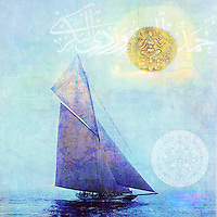 Photo illustration of a vintage sailing boat with a Buddha sail, a Yogic goddess sun, an Aztec moon and Arabic calligraphy clouds.<br />