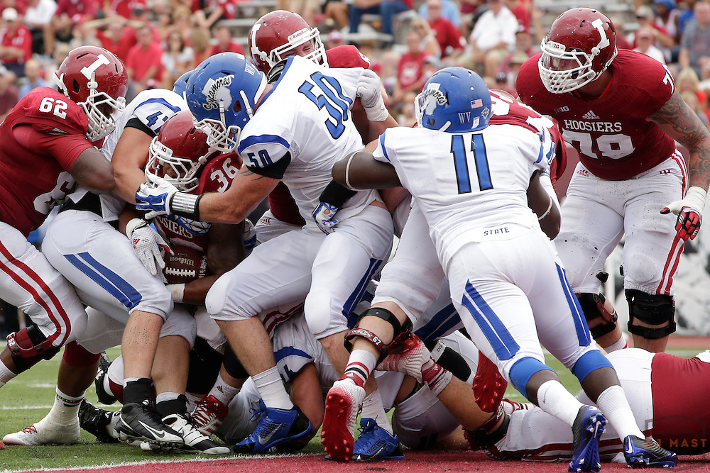 as the Indiana Hoosiers played the Indiana State Sycamores in a college football game in Bloomington, IN.