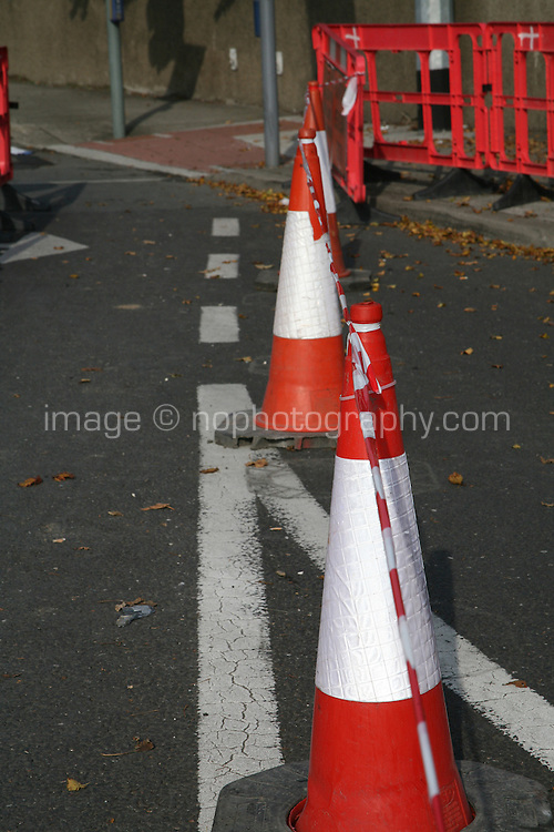 Traffic cones at roadworks in Dublin Ireland