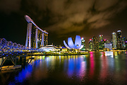 The Helix Bridge and downtown skyline at night, Singapore, Republic of Singapore