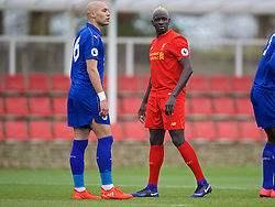 BURTON-UPON-TRENT, ENGLAND - Saturday, December 3, 2016: Liverpool's Mamadou Sakho, with dyed blond hair, in action against Leicester City during the Premier League International Cup match at St. George's Park. (Pic by David Rawcliffe/Propaganda)