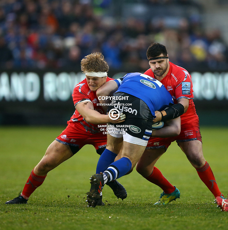 Rob Webber of Sale Sharks tackling Henry Thomas of Bath Rugby during the Gallagher Premiership match between Bath Rugby and Sale Sharks at the The Recreation Ground Bath England.2nd December 2018,(Photo by Steve Haag Sports)