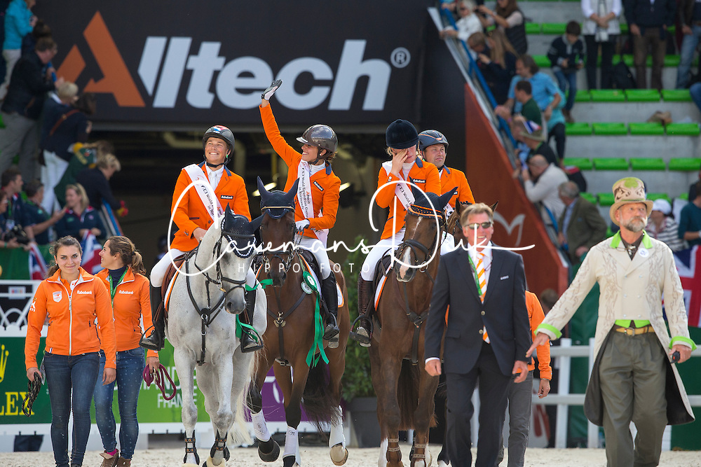 Team NED won bronze in the team test eventing - Alltech FEI World Equestrian Games™ 2014 - Normandy, France.<br /> © Hippo Foto Team - Leanjo De Koster<br /> 31-08-14