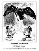 "Tweedledum and Tweedledee. ""Just then flew down a monstrous crow, as black as a tar-barrel; which firghtened bothe the heroes so, they quite forgot their quarrel."""