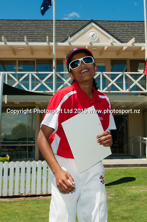 MVP Nensi Patel of Tauranga Intermediate during the New Zealand Post Shield Finals cricket matches at Lincoln University, Lincoln. 28th November 2015. Copyright Photo: John Davidson / www.photosport.nz
