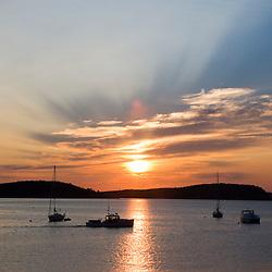 Sunrise in Bar Harbor near Maine's Acadia National Park.  Frenchman Bay.