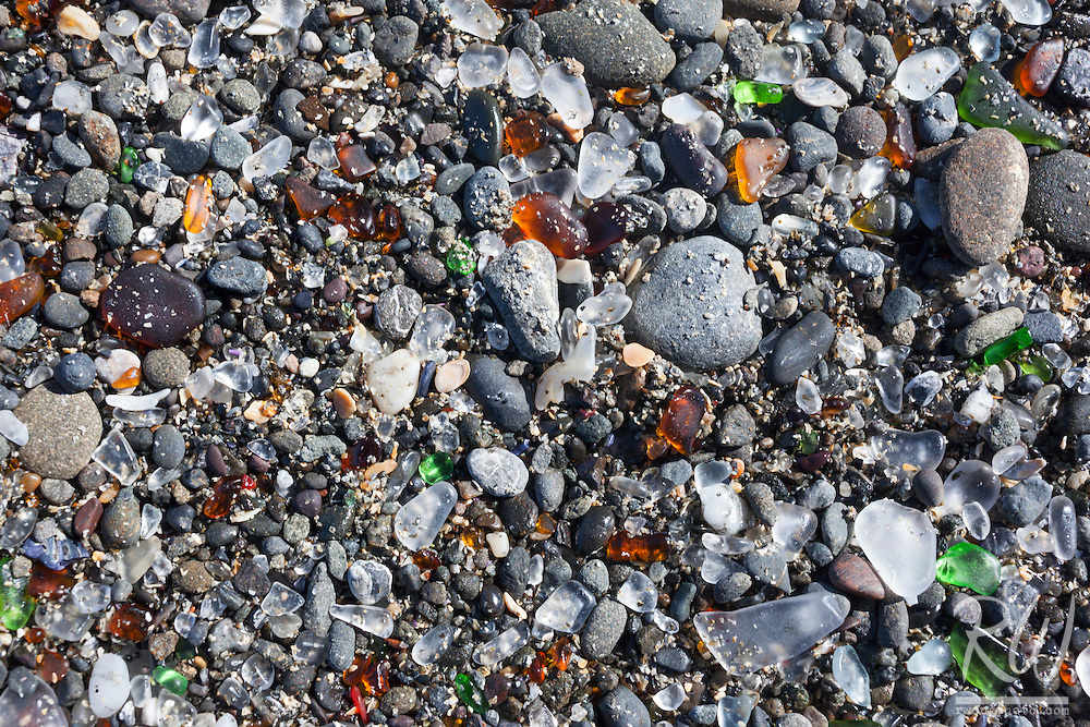 Glass Beach in MacKerricher State Park was the result of years of garbage dumping by residents which eventually became ground down to glass pebbles by the ocean waves, Fort Bragg, California