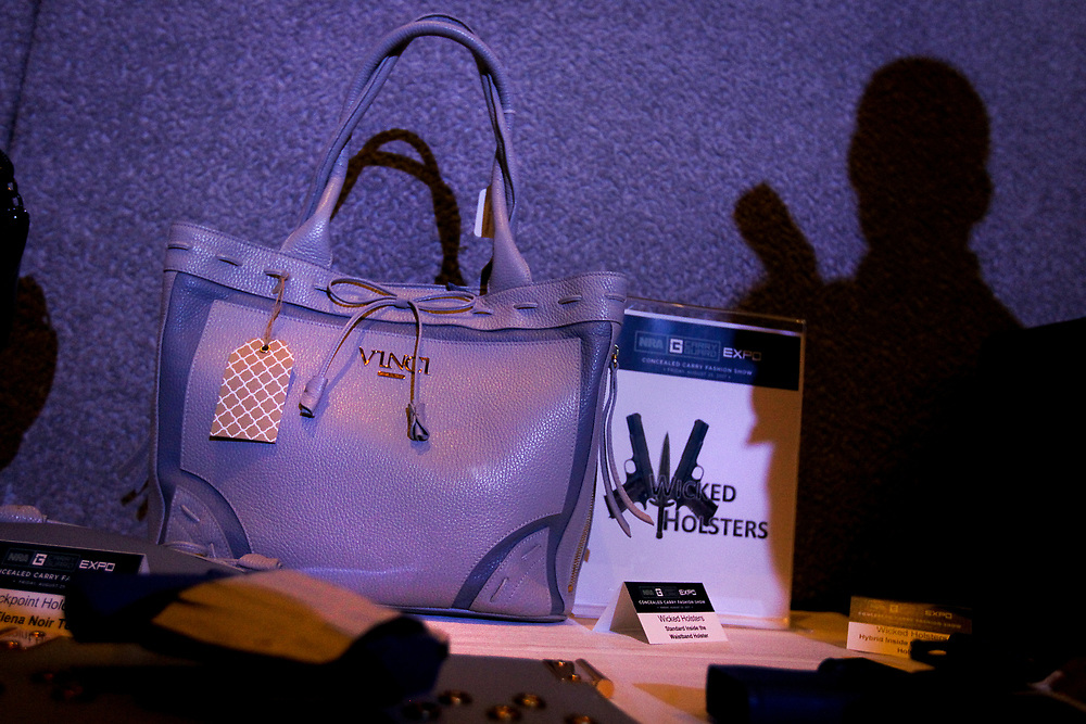 Concealed carry purses on display during the National Rifle Association (NRA) Carry Guard Expo Fashion Show in Milwaukee, Wisconsin, U.S., August 25, 2017.   REUTERS/Ben Brewer