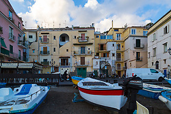 Sorrento, Italy, September 15 2017. Boats on the shore at Marina Grande in Sorrento, Italy. © Paul Davey
