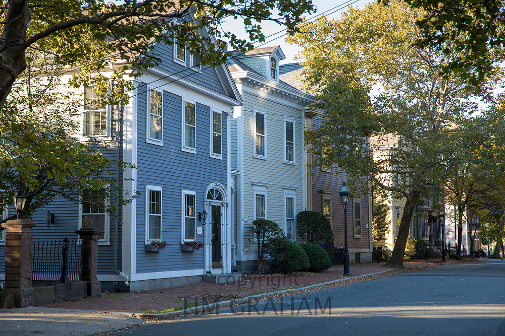 Wooden clapboard period houses on Benefit Street in Providence, Rhode Island, USA