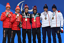 CLARION Thomas FRA B1 Guide: BOLLET Antoine, McKEEVER Brian CAN B3 Guide: NISHIKAWA Graham, HOLUB Yury BLR B3 Guide: BUDZILOVICH Dzmitry, ParaSkiDeFond, Para Nordic Skiing, 20km, Podium at  the PyeongChang2018 Winter Paralympic Games, South Korea.