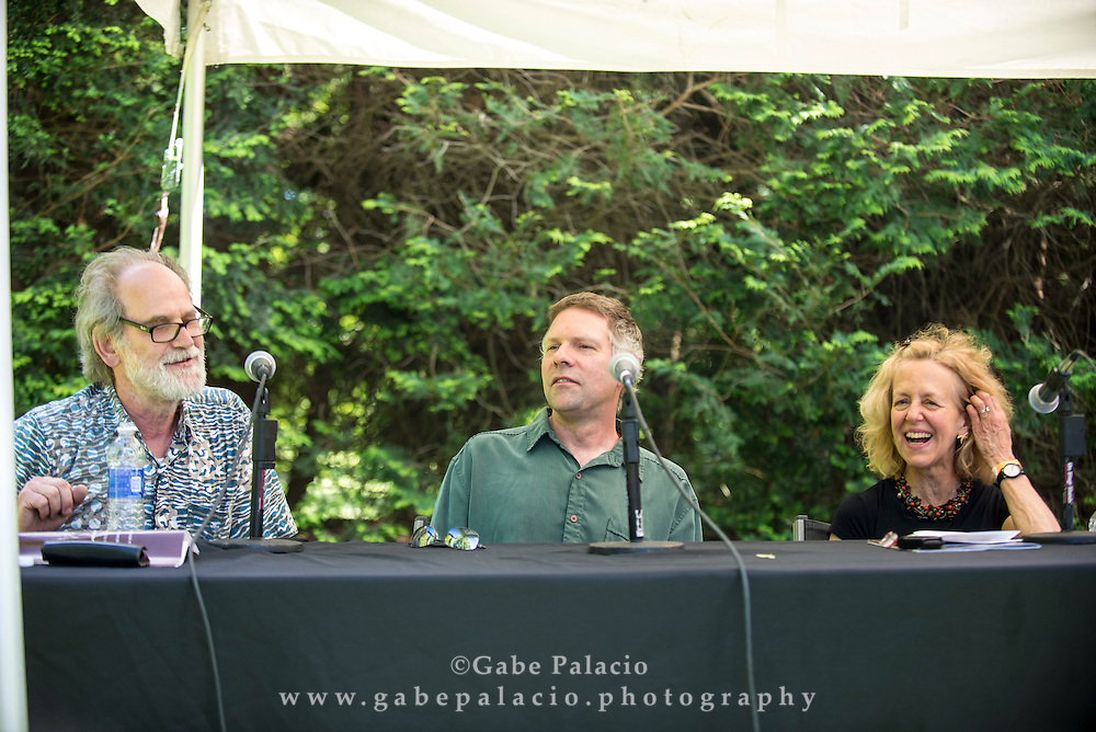 Panel Discussion moderated by Barbara London with artists Trimpin, Annea Lockwood, Ed Osborn, and Suzanne Thorpe, at opening for In the Garden of Sonic Delights at Caramoor in Katonah New York on June 7, 2014. <br /> (photo by Gabe Palacio)