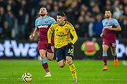 Gabriel Martinelli (Arsenal) during the Premier League match between West Ham United and Arsenal at the London Stadium, London, England on 9 December 2019.