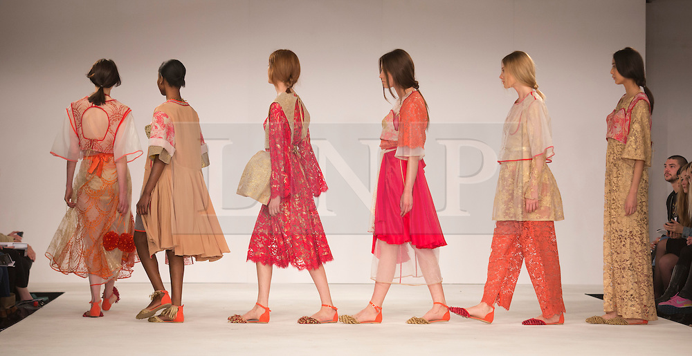 © Licensed to London News Pictures. 31/05/2014. London, England. Collection by Briony Campbell-Ross from Edinburgh College of Art. Graduate Fashion Week 2014, Runway Show at the Old Truman Brewery in London, United Kingdom. Photo credit: Bettina Strenske/LNP