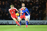 Ollie Rathbone is fouled during the EFL Sky Bet League 1 match between Rochdale and Chesterfield at Spotland, Rochdale, England on 26 December 2016. Photo by Daniel Youngs.