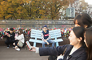 People visit the N Seoul Tower or the Namsan Tower which is a communication and observation tower located on Namsan Mountain in central Seoul, South Korea, Nov 4, 2018. Photo by Lee Jae-Won (SOUTH KOREA) www.leejaewonpix.com