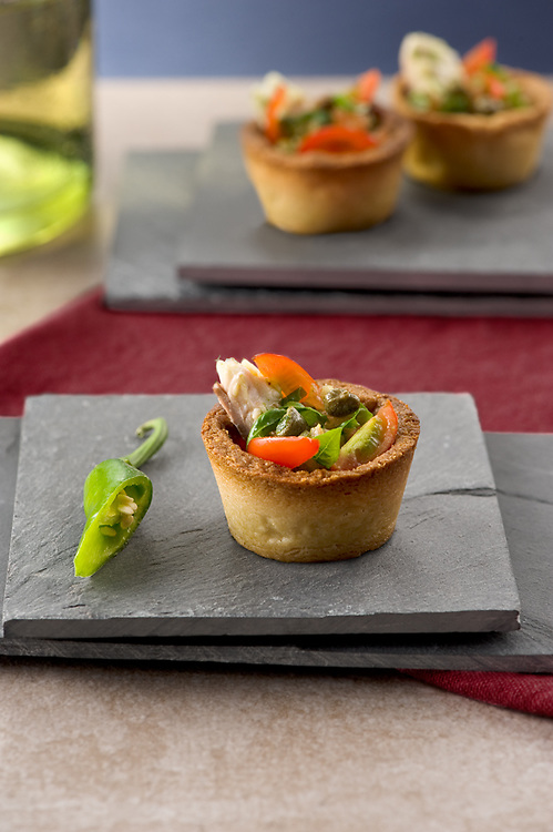 sea bass and pesto pantesco tarts