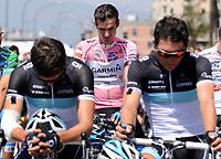 La maglia rosa David Millar<br /> David Millar pauses before the start in memory of the death of Wouter Weylandt<br /> Giro d'Italia 2011 - Tappa 4: Genova Livorno<br /> Genova, 10/05/2011<br /> © Giorgio Perottino / Insidefoto <br /> Ciclismo Cycling