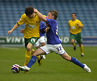 Photo: Matt Bright/Sportsbeat Images.<br /> Millwall v Hartlepool United. Coca Cola League 1. 03/11/2007.<br /> Brian Hodge of Millwall pressurizes James Brown of Hartlepool
