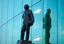 MANCHESTER, ENGLAND - Tuesday, February 12, 2019: A statue of former Manchester United manager Matt Busby outside the Old Trafford Stadium before the UEFA Champions League Round of 16 1st Leg match between Manchester United FC and Paris Saint-Germain. (Pic by David Rawcliffe/Propaganda)