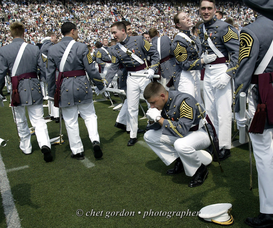 Cadet pauses in thought and prayer after receiving his commission to 2nd. Lt. during the United States Military Academy's 2007 Graduation and Commissioning Ceremony in Michie Stadium at West Point on Saturday, May 26, 2007.  Times Herald-Record/Chet Gordon
