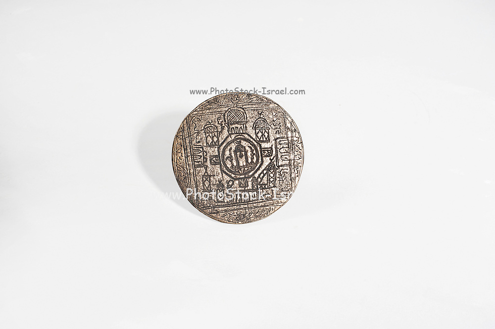 An Islamic bronze seal depicting a schematic map of the Dome of the Rock area. 18-19Th century CE