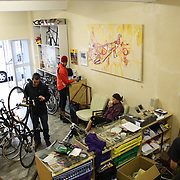 A typical Saturday morning at the shop with friends and customers stopping by before their bike rides.