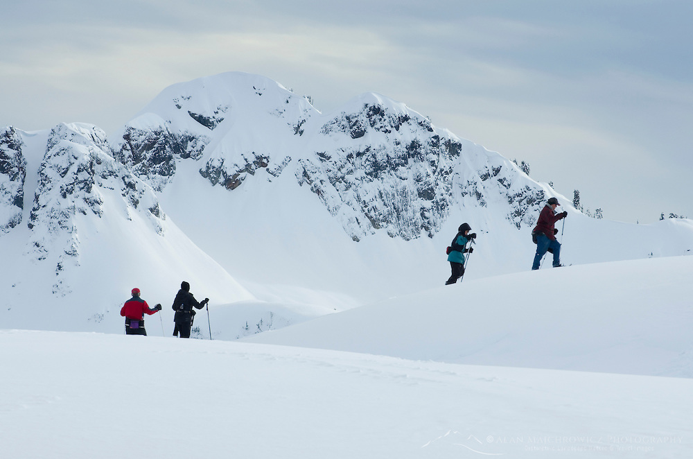 Snowshoers on Kulshan Ridge with Mount Ann in the Background, North Cascades, Washington