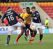 Dundee Greg Stewart and Partick Thistle's Abdul Osman fight for the ball - Partick Thistle v Dundee - SPFL Premiership at Dens Park<br /> <br />  - &copy; David Young - www.davidyoungphoto.co.uk - email: davidyoungphoto@gmail.com