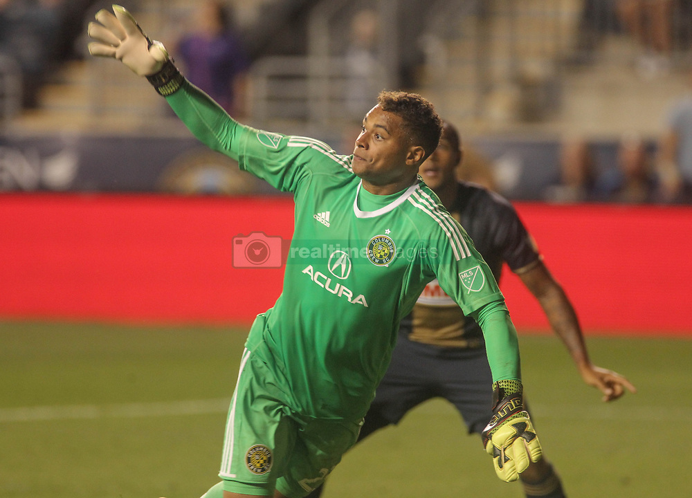 July 26, 2017 - Chester, PA, United States of America - Columbus Crew SC Keeper ZACK STEFFEN (23) attempts make a in the second half of a Major League Soccer match between the Philadelphia Union and Columbus Crew SC Wednesday, July. 26, 2017, at Talen Energy Stadium in Chester, PA. (Credit Image: © Saquan Stimpson via ZUMA Wire)