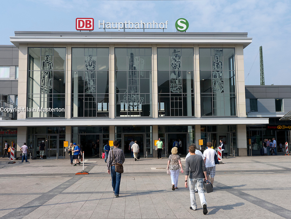 Exterior of Hauptbahnhof or main railway station in Dortmund Germany