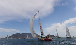 CAPE TOWN. 171031. Yacht 'Great Britain' sails in the fleet at the start of leg three of the Clipper Round The World Yacht race in Cape Town. The third stage of the Clipper 2017-18 Race, officially known as Race 3: The Dell Latitude Rugged Race, got underway today from Cape Town for its highly anticipated 4,754 nautical mile Southern Ocean sleigh ride towards Fremantle, Australia. First to cross the start line, ahead of a triangular course in Table Bay, was Capetonian Dale Smyth's Dare To Lead team, closely followed by Visit Seattle, led by youngest ever Clipper Race Skipper Nikki Henderson, and HotelPlanner.com, Skippered by Conall Morrison from Derry-Londonderry. Picture Henk Kruger/ANA