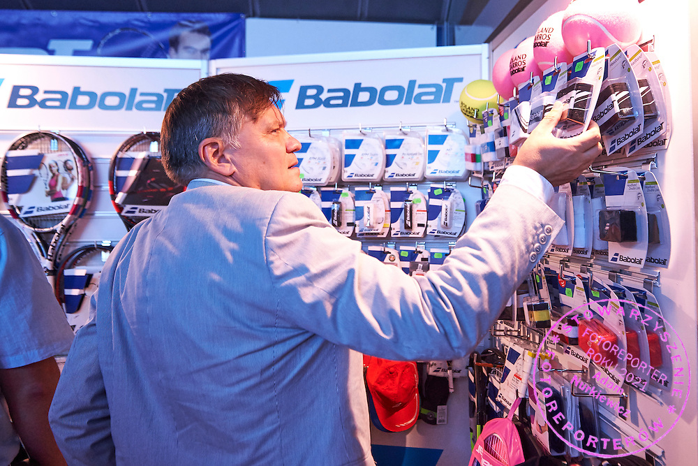 Babolat stand in commercial area during Davis Cup Tie World Group Play-off Poland v Slovakia at Gdynia Arena Hall in Gdynia, Poland.<br /> <br /> Poland, Gdynia, September 18, 2015<br /> <br /> Picture also available in RAW (NEF) or TIFF format on special request.<br /> <br /> For editorial use only. Any commercial or promotional use requires permission.<br /> <br /> Adam Nurkiewicz declares that he has no rights to the image of people at the photographs of his authorship.<br /> <br /> Mandatory credit:<br /> Photo by &copy; Adam Nurkiewicz / Mediasport