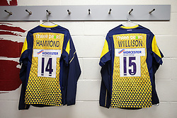 Shirts hang up in the Worcester Warriors visitors changing room ahead of their match against Saracens - Rogan Thomson/JMP - 03/09/2016 - RUGBY UNION - Twickenham Stadium - London, England - Aviva Premiership London Double Header.