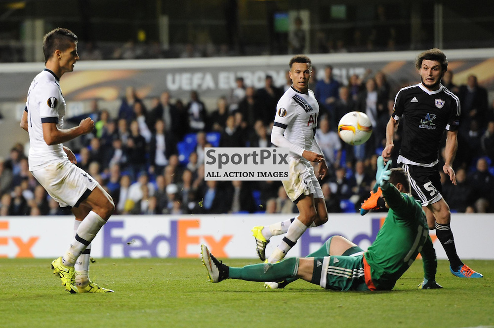 Tottenhams Erik Lamela scores to put his side 3-1 up during the Tottenham v Qarabag match in the Europa League group stage